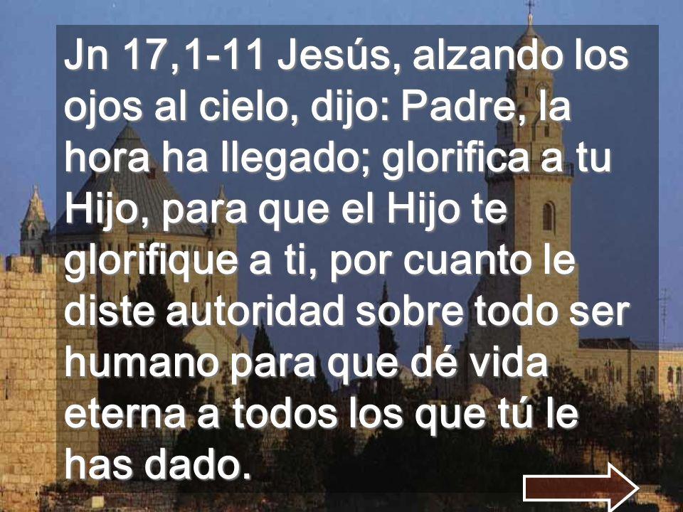 Jn 17,1-11 Jesús, alzando los ojos al cielo, dijo: Padre, la hora ha llegado; glorifica a tu Hijo, para que el Hijo te glorifique a ti, por cuanto le diste autoridad sobre todo ser humano para que dé vida eterna a todos los que tú le has dado.