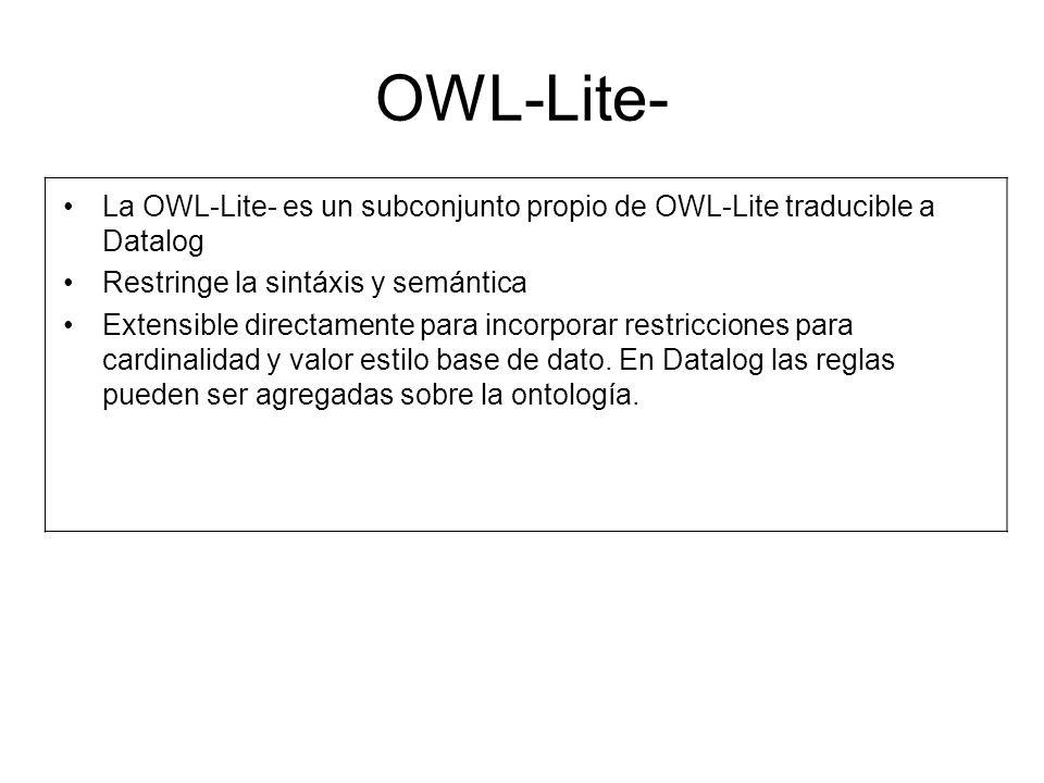 OWL-Lite- La OWL-Lite- es un subconjunto propio de OWL-Lite traducible a Datalog. Restringe la sintáxis y semántica.