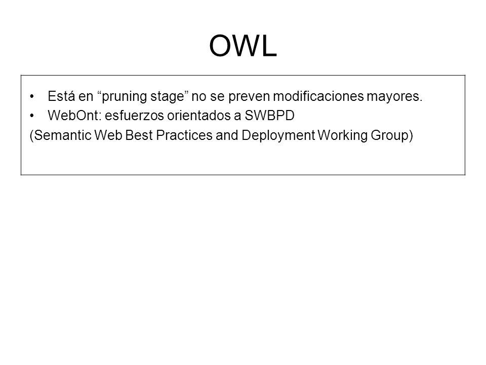OWL Está en pruning stage no se preven modificaciones mayores.