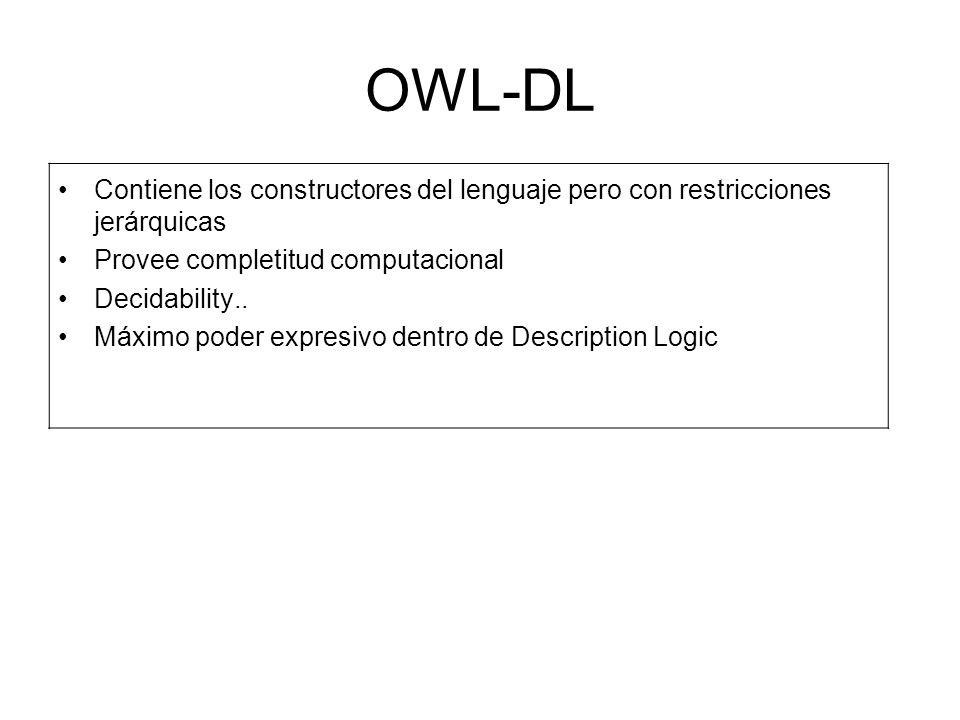 OWL-DL Contiene los constructores del lenguaje pero con restricciones jerárquicas. Provee completitud computacional.