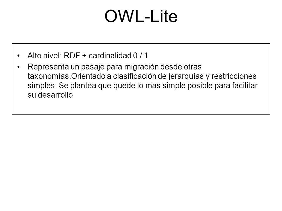 OWL-Lite Alto nivel: RDF + cardinalidad 0 / 1