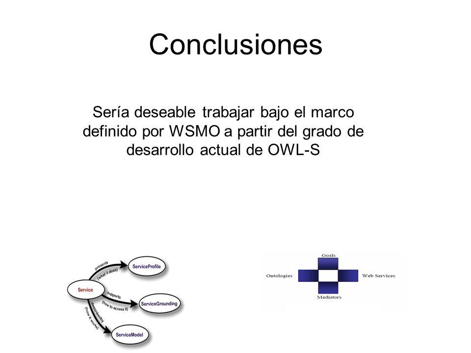 Conclusiones Sería deseable trabajar bajo el marco definido por WSMO a partir del grado de desarrollo actual de OWL-S.