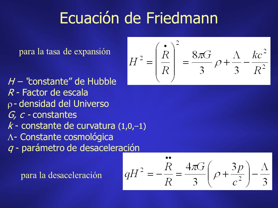 Ecuación de Friedmann para la tasa de expansión