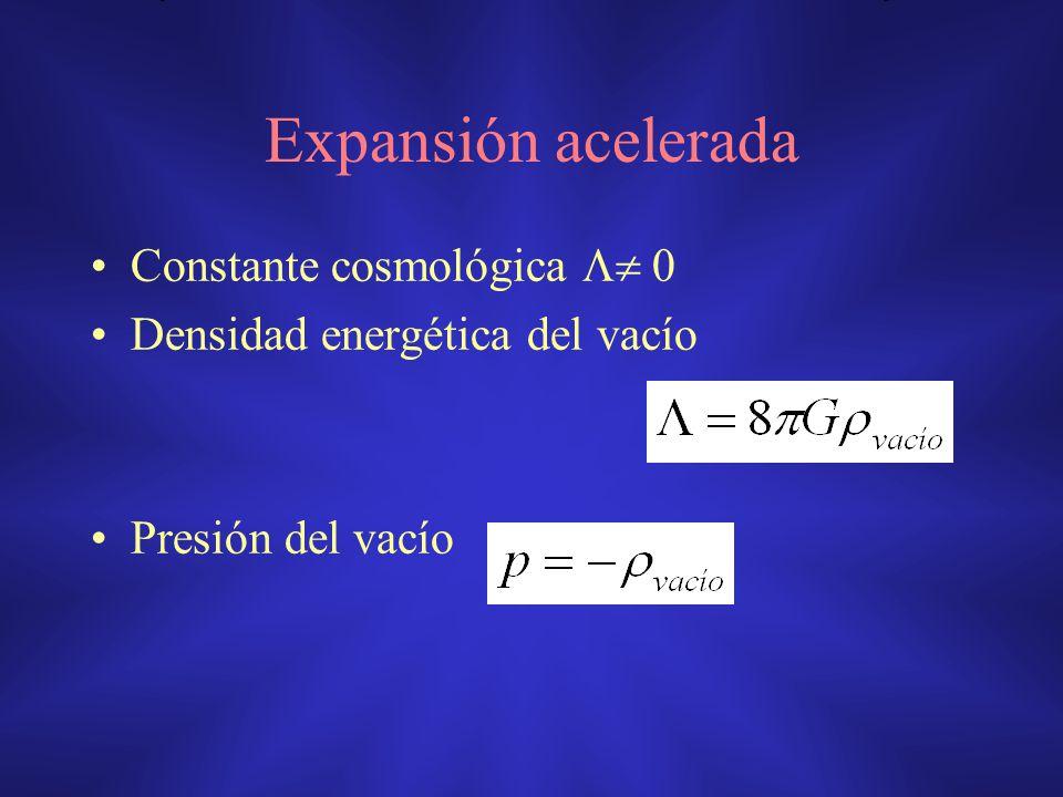 Expansión acelerada Constante cosmológica  0