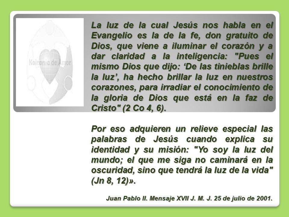 La luz de la cual Jesús nos habla en el Evangelio es la de la fe, don gratuito de Dios, que viene a iluminar el corazón y a dar claridad a la inteligencia: Pues el mismo Dios que dijo: 'De las tinieblas brille la luz', ha hecho brillar la luz en nuestros corazones, para irradiar el conocimiento de la gloria de Dios que está en la faz de Cristo (2 Co 4, 6).