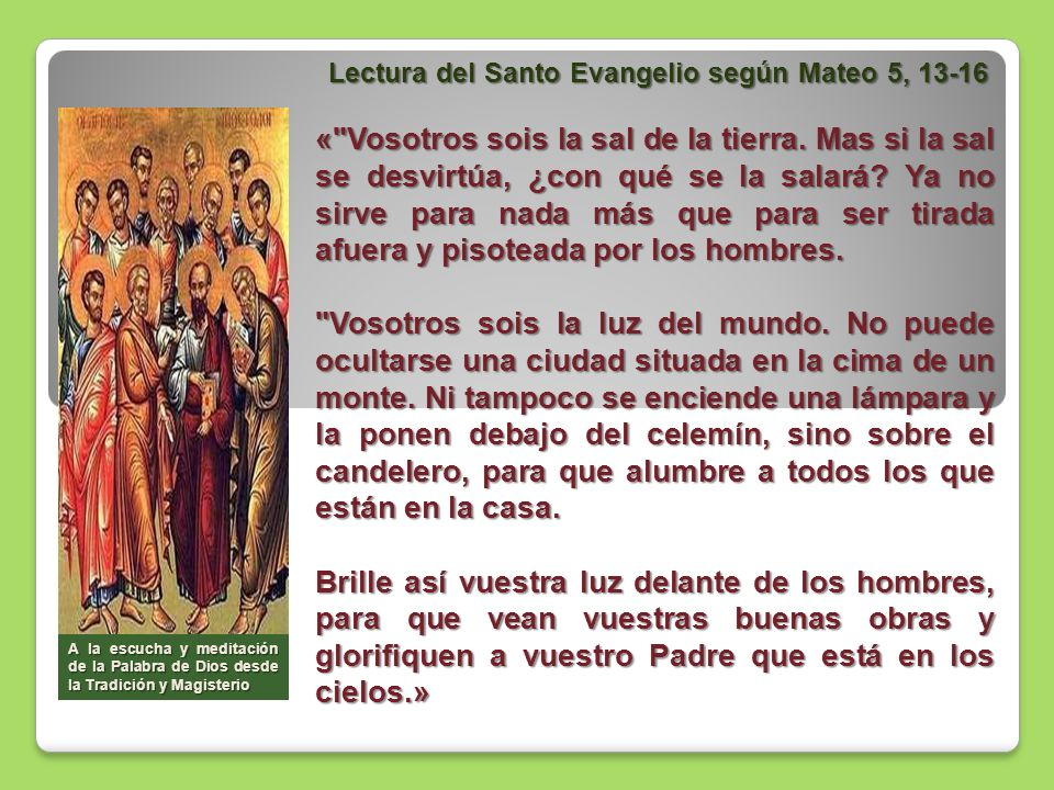Lectura del Santo Evangelio según Mateo 5, 13-16