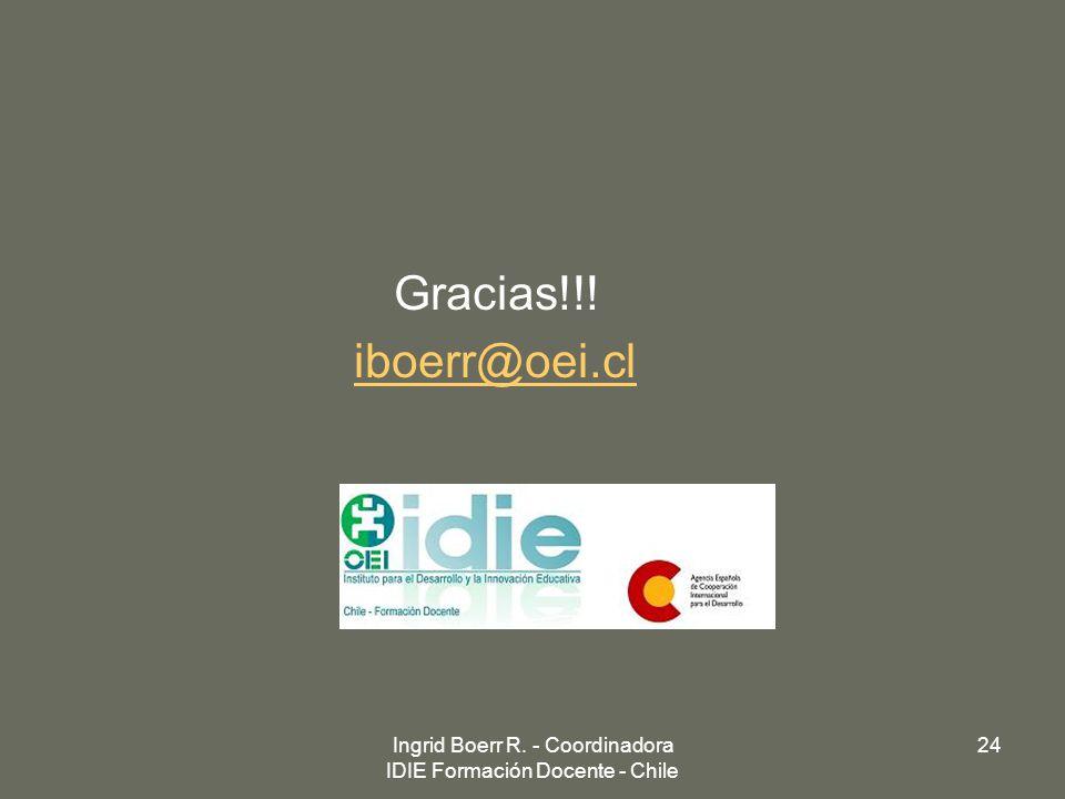 Ingrid Boerr R. - Coordinadora IDIE Formación Docente - Chile
