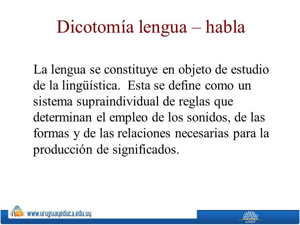 Dicotomía lengua – habla
