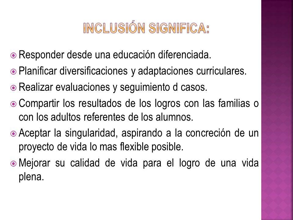 Inclusión significa: Responder desde una educación diferenciada.