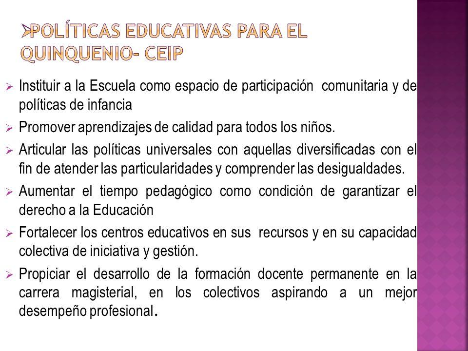 Políticas Educativas para el quinquenio- CEIP