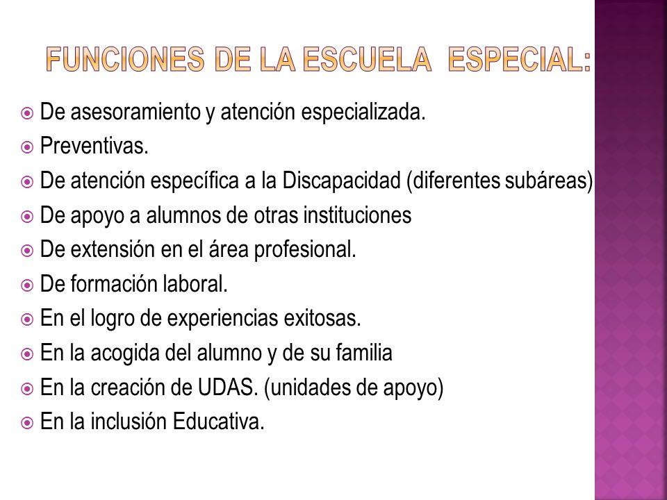 Funciones de la Escuela Especial: