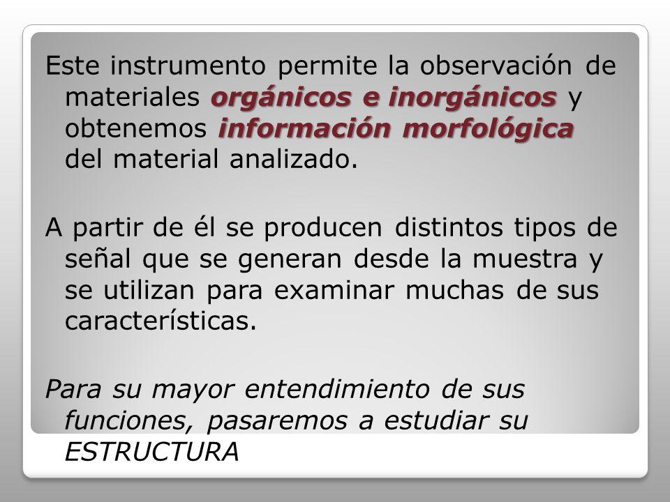 Este instrumento permite la observación de materiales orgánicos e inorgánicos y obtenemos información morfológica del material analizado.