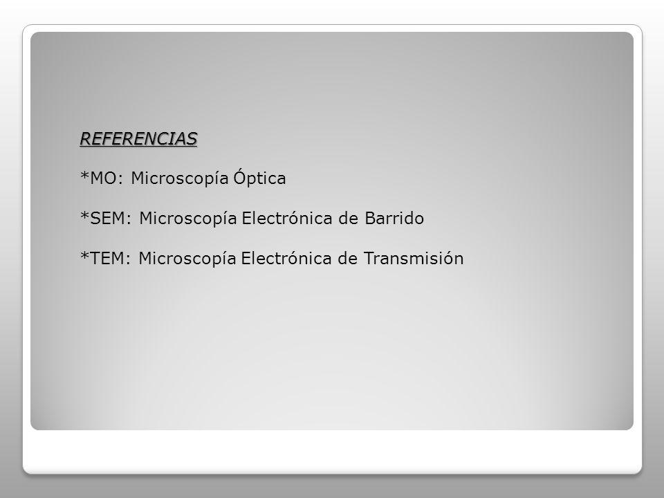 REFERENCIAS *MO: Microscopía Óptica. *SEM: Microscopía Electrónica de Barrido.