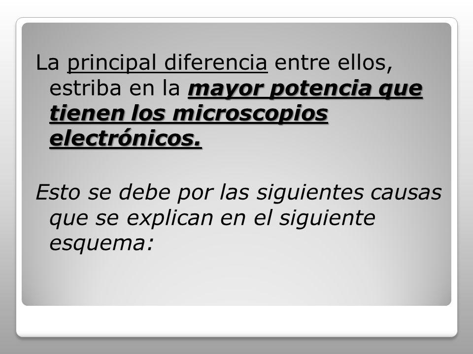 La principal diferencia entre ellos, estriba en la mayor potencia que tienen los microscopios electrónicos.
