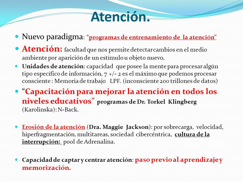 Atención. Nuevo paradigma: programas de entrenamiento de la atención
