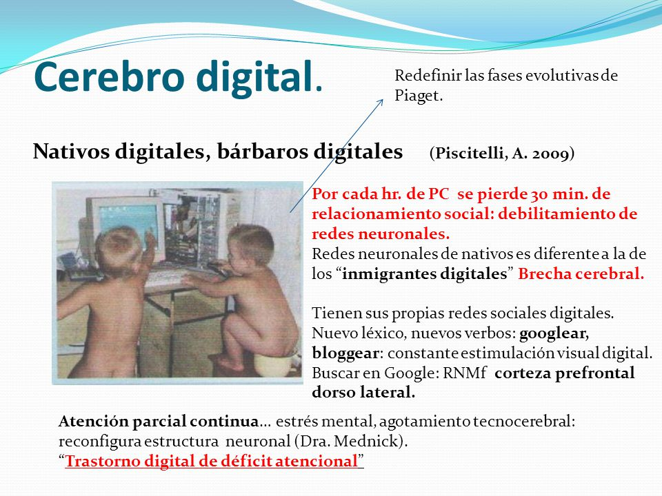 Cerebro digital. Redefinir las fases evolutivas de Piaget. Nativos digitales, bárbaros digitales (Piscitelli, A. 2009)