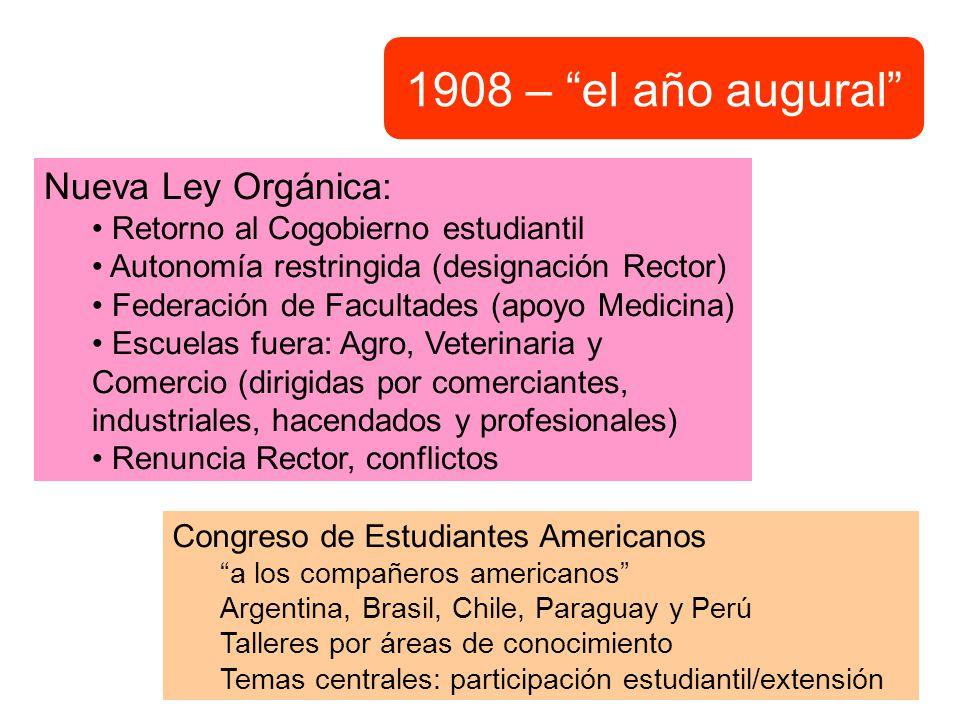 1908 – el año augural Nueva Ley Orgánica: