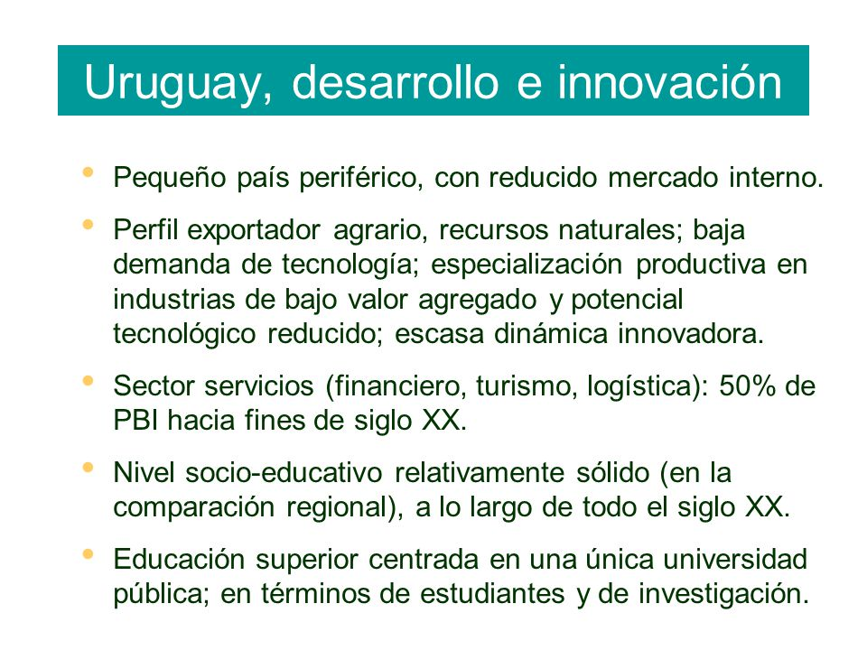 Uruguay, desarrollo e innovación