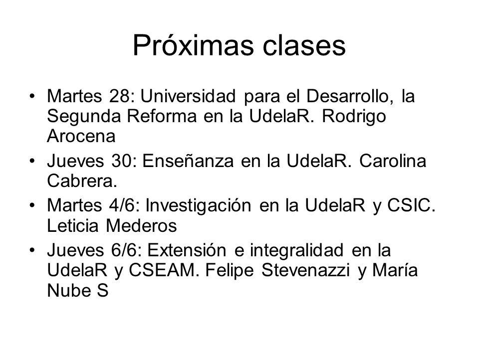 Próximas clases Martes 28: Universidad para el Desarrollo, la Segunda Reforma en la UdelaR. Rodrigo Arocena.