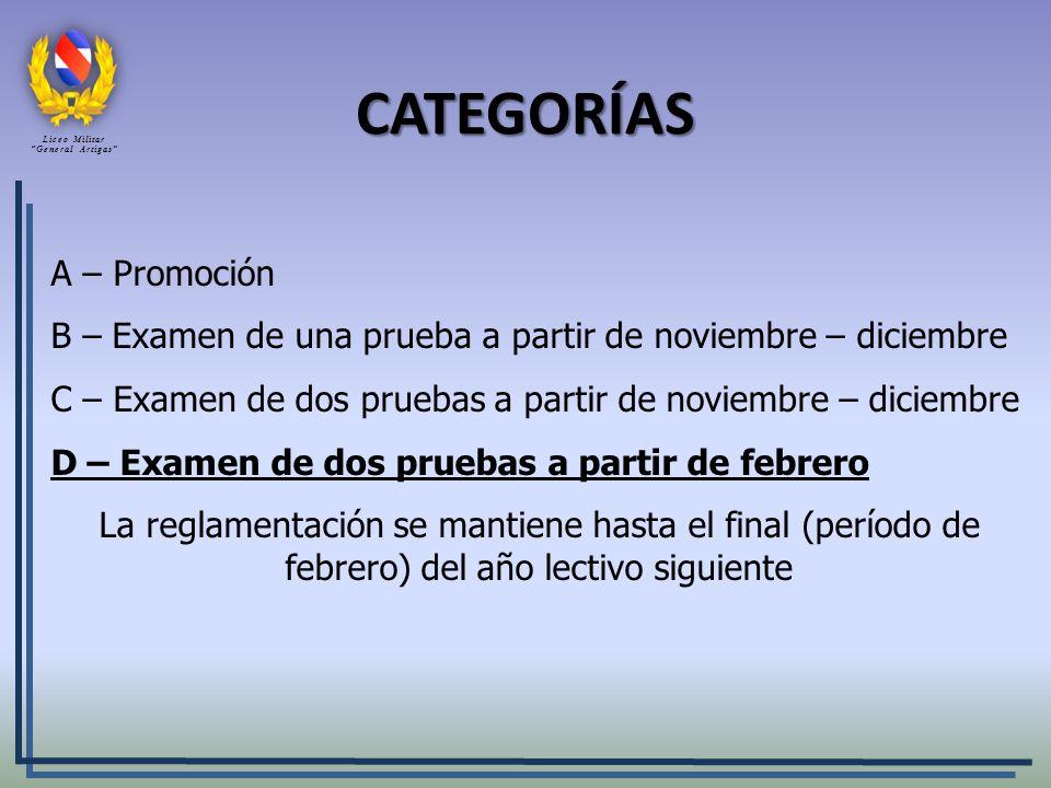 CATEGORÍAS A – Promoción