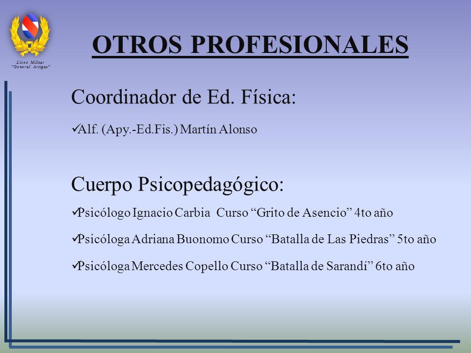 OTROS PROFESIONALES Coordinador de Ed. Física: Cuerpo Psicopedagógico: