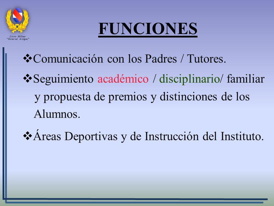 FUNCIONES Comunicación con los Padres / Tutores.