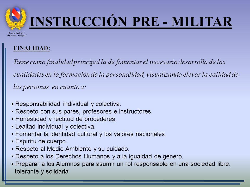 INSTRUCCIÓN PRE - MILITAR