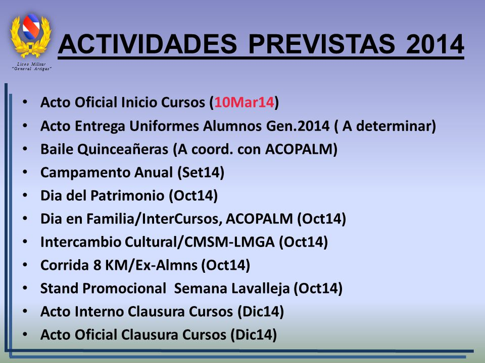 ACTIVIDADES PREVISTAS 2014