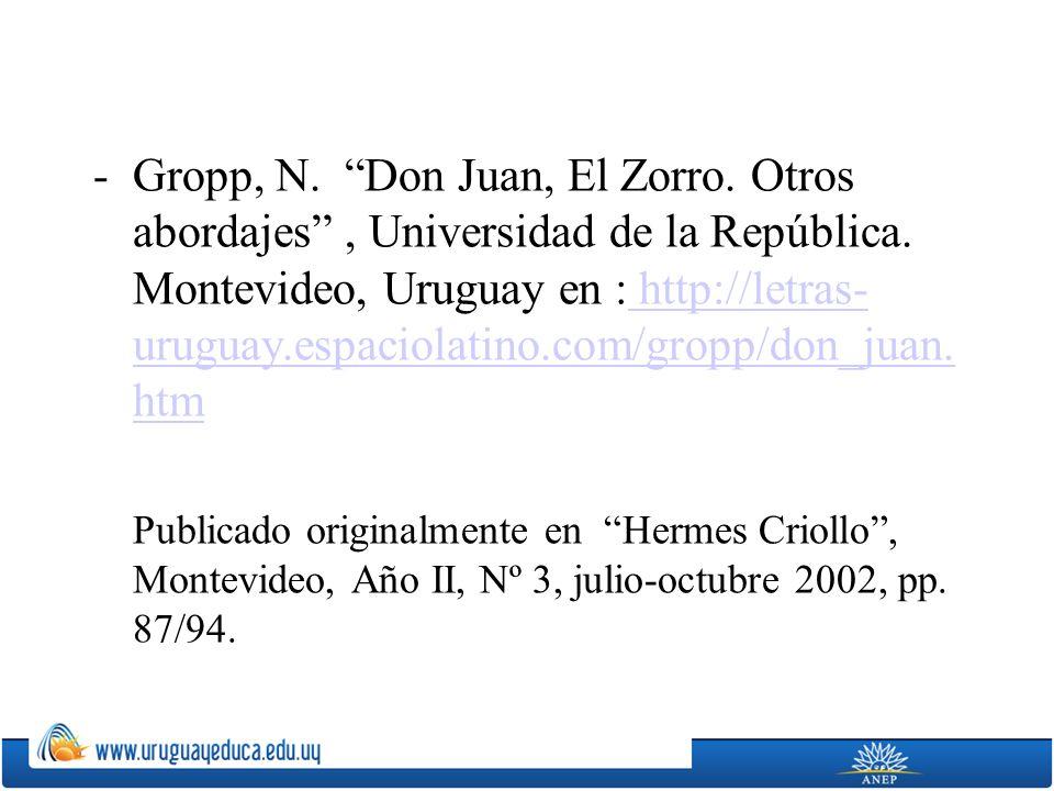 Gropp, N. Don Juan, El Zorro