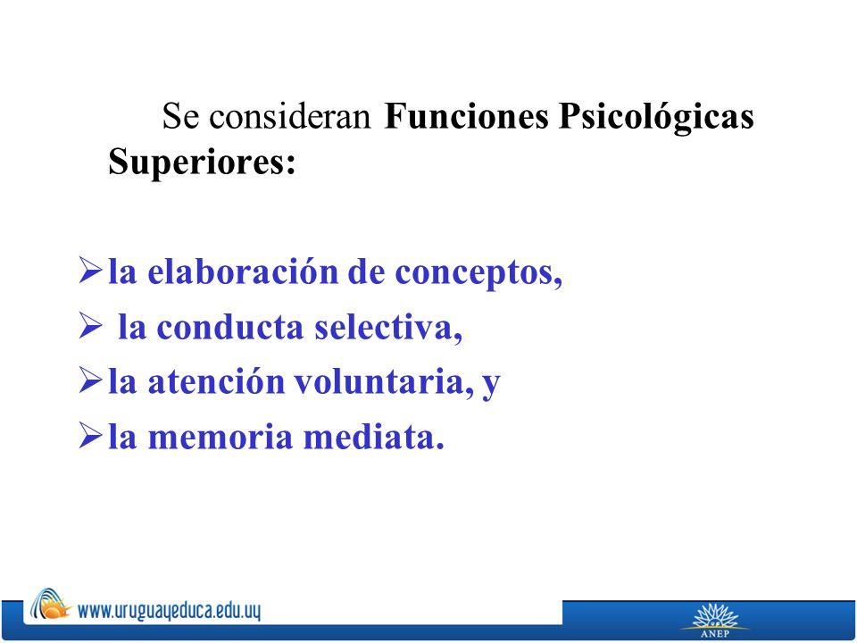 Se consideran Funciones Psicológicas Superiores: