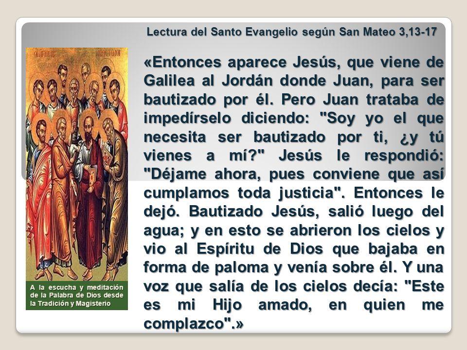 Lectura del Santo Evangelio según San Mateo 3,13-17