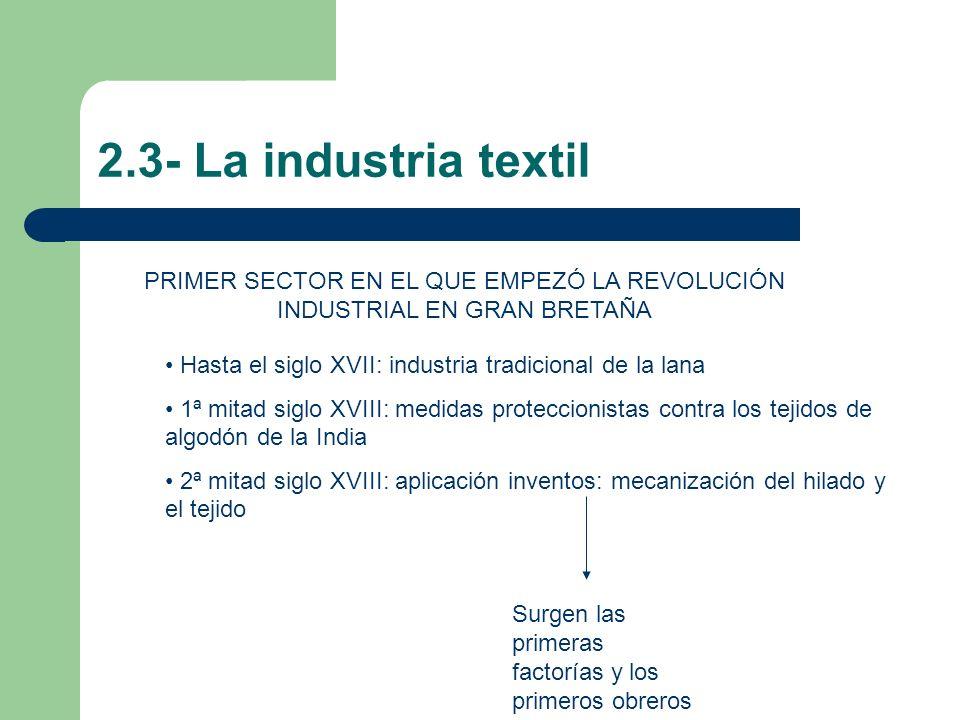 2.3- La industria textil PRIMER SECTOR EN EL QUE EMPEZÓ LA REVOLUCIÓN INDUSTRIAL EN GRAN BRETAÑA.