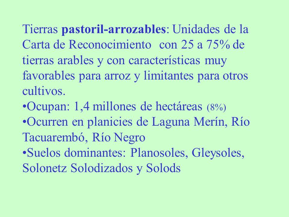 Tierras pastoril-arrozables: Unidades de la Carta de Reconocimiento con 25 a 75% de tierras arables y con características muy favorables para arroz y limitantes para otros cultivos.