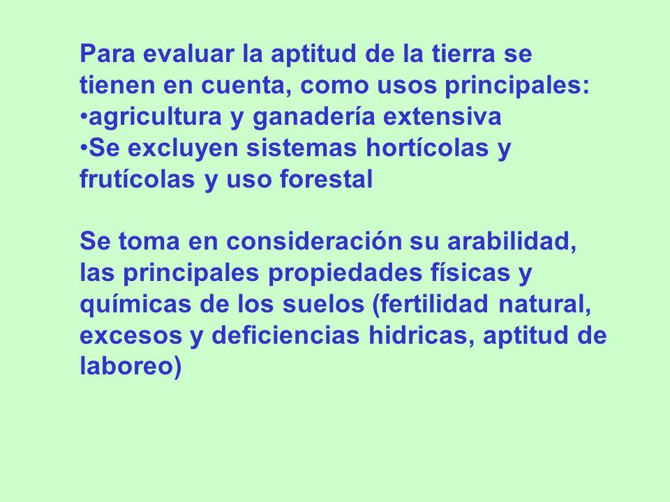 Para evaluar la aptitud de la tierra se tienen en cuenta, como usos principales: