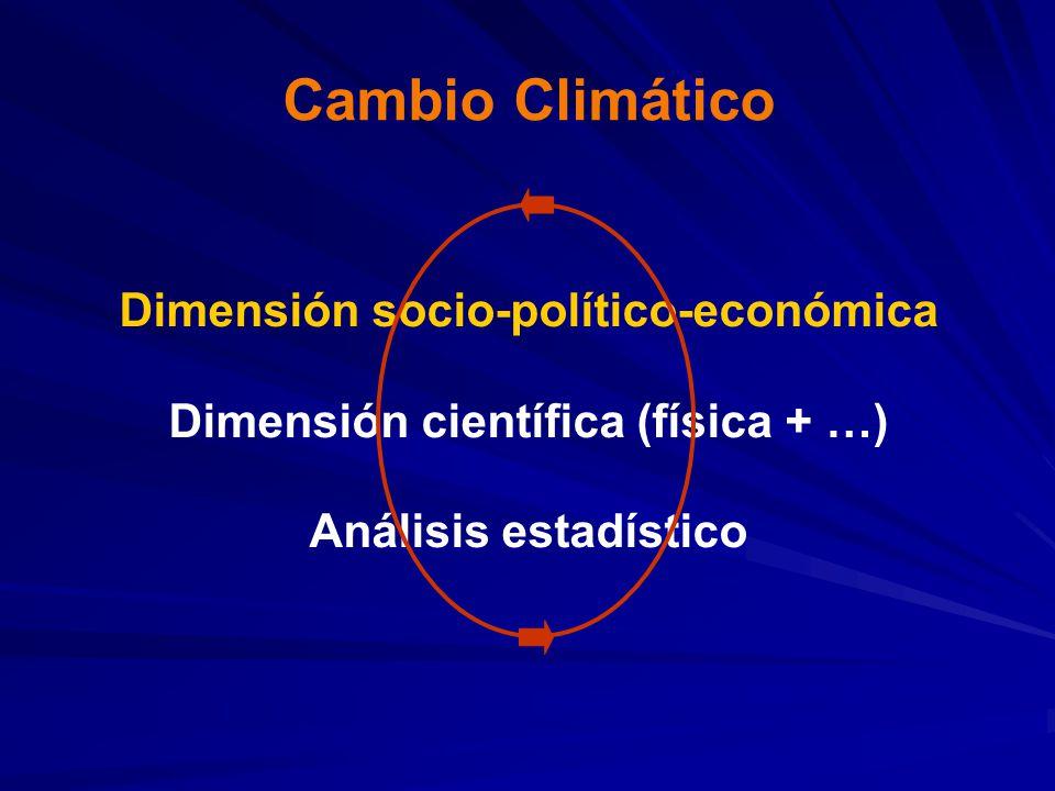 Cambio Climático Dimensión socio-político-económica Dimensión científica (física + …) Análisis estadístico.