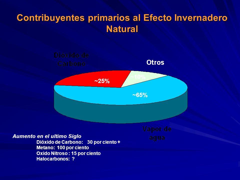 Contribuyentes primarios al Efecto Invernadero Natural
