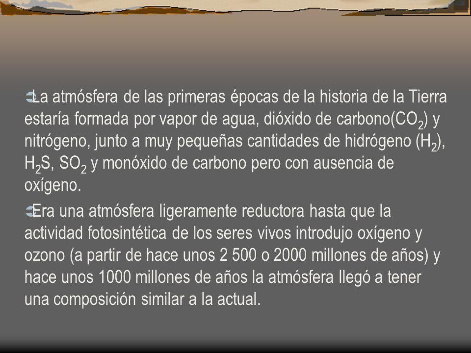 La atmósfera de las primeras épocas de la historia de la Tierra estaría formada por vapor de agua, dióxido de carbono(CO2) y nitrógeno, junto a muy pequeñas cantidades de hidrógeno (H2), H2S, SO2 y monóxido de carbono pero con ausencia de oxígeno.