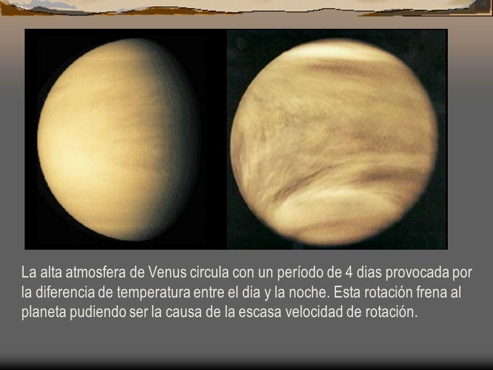 La alta atmosfera de Venus circula con un período de 4 dias provocada por la diferencia de temperatura entre el dia y la noche.