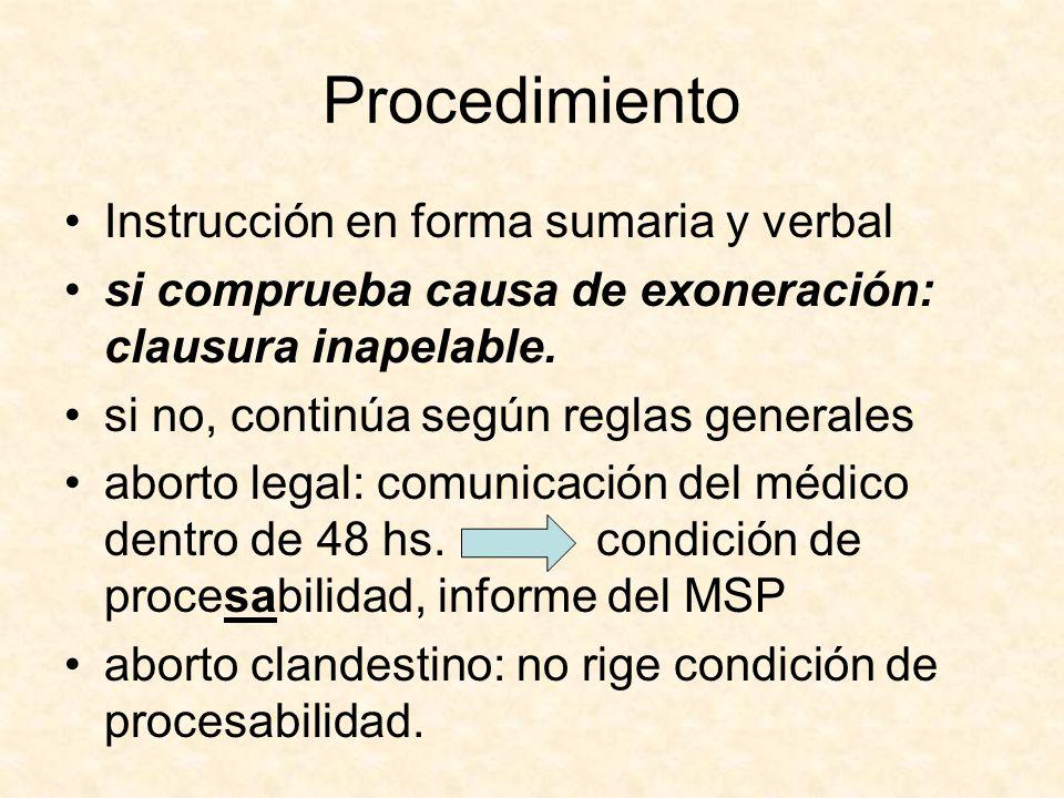 Procedimiento Instrucción en forma sumaria y verbal