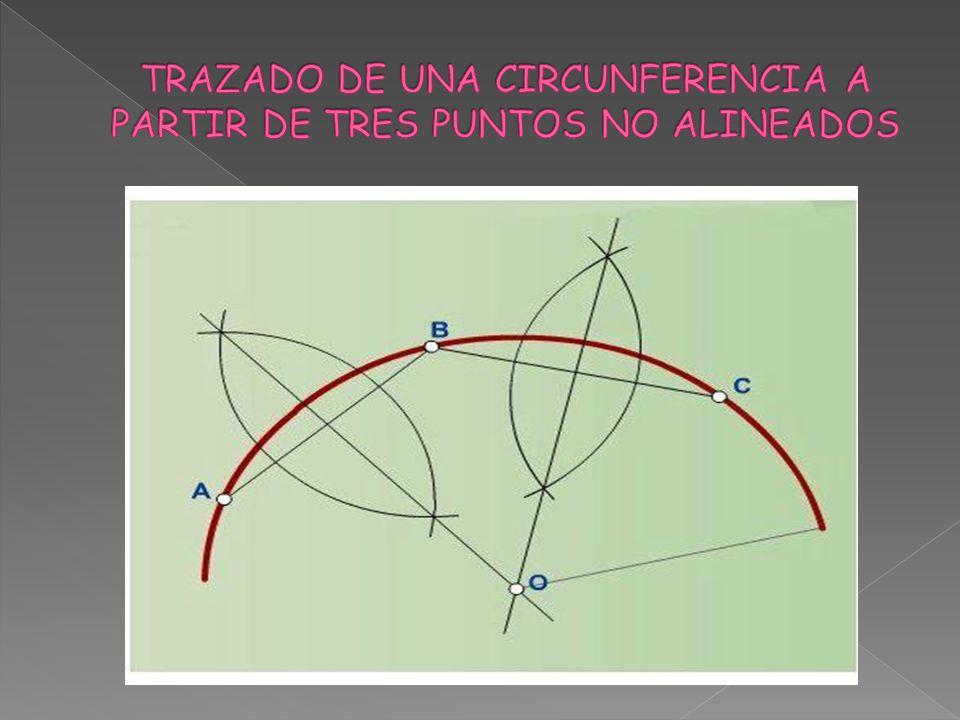 TRAZADO DE UNA CIRCUNFERENCIA A PARTIR DE TRES PUNTOS NO ALINEADOS