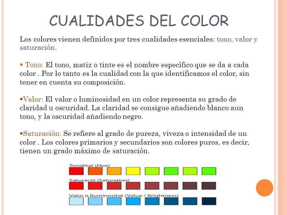 CUALIDADES DEL COLOR Los colores vienen definidos por tres cualidades esenciales: tono, valor y saturación.