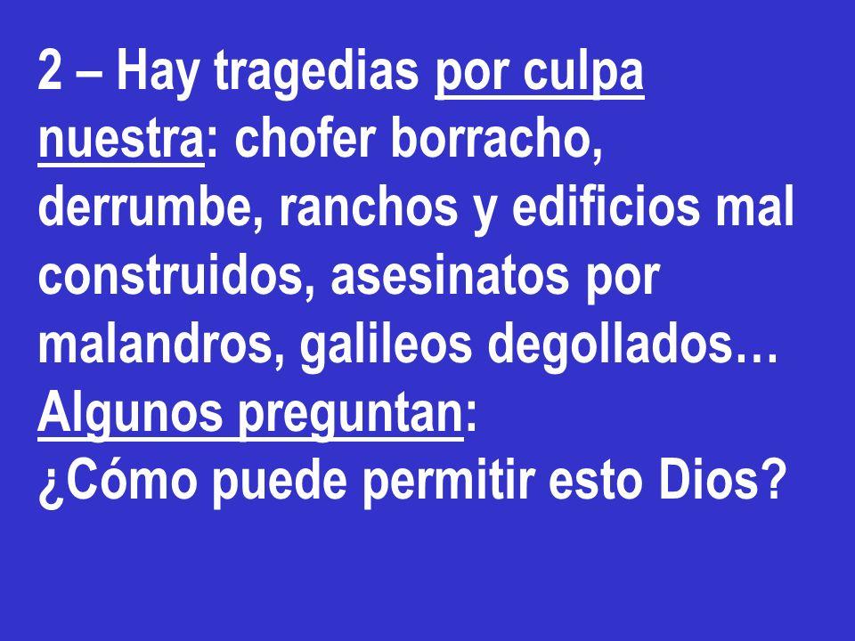 2 – Hay tragedias por culpa nuestra: chofer borracho, derrumbe, ranchos y edificios mal construidos, asesinatos por malandros, galileos degollados…