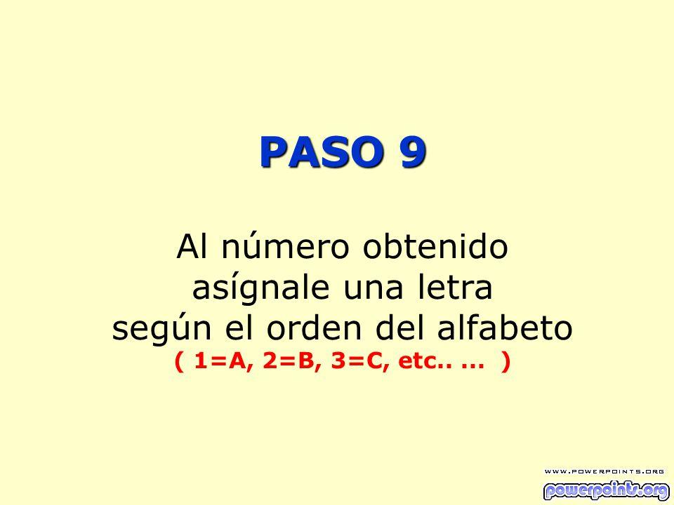 PASO 9 Al número obtenido asígnale una letra según el orden del alfabeto ( 1=A, 2=B, 3=C, etc..