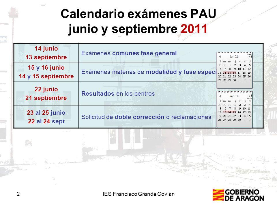 Calendario exámenes PAU junio y septiembre 2011