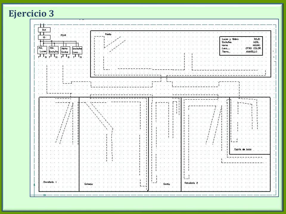 Ejercicio 3 En el plano del piso están dibujados las cajas de conexión y los tubos por donde van los cables.