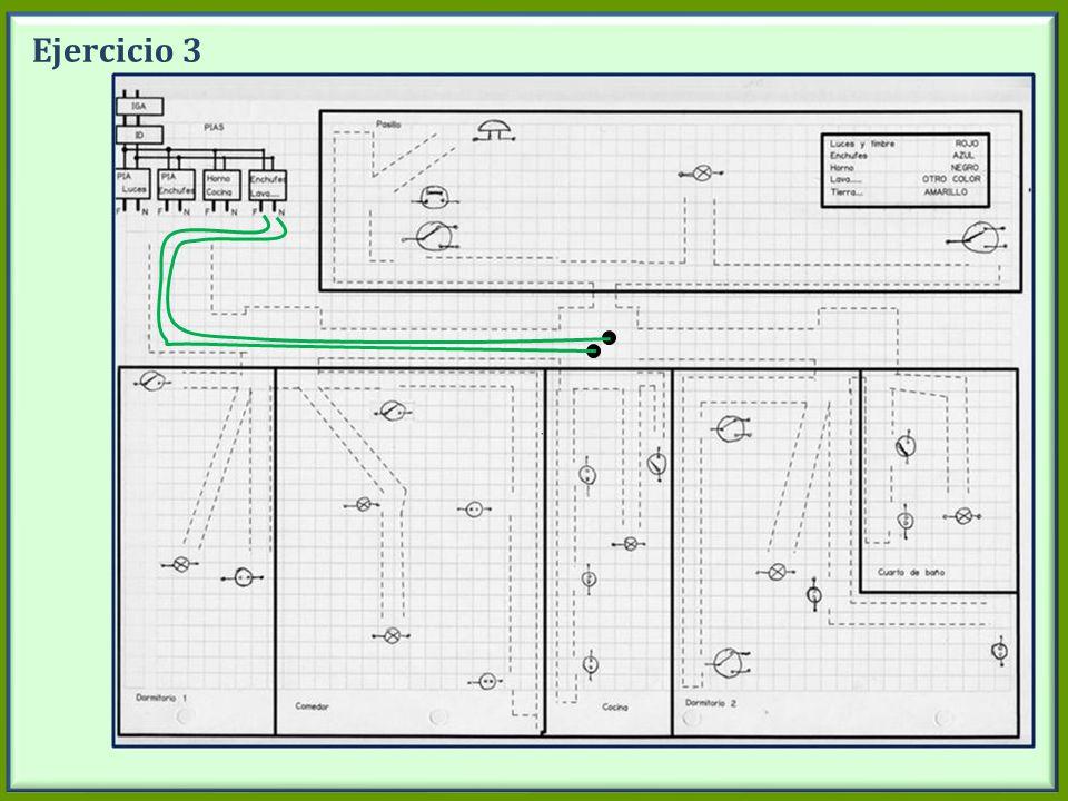 Ejercicio 3 Dibujar en la pizarra el circuito enchufe lavadora. Desde PIA Lavadora.