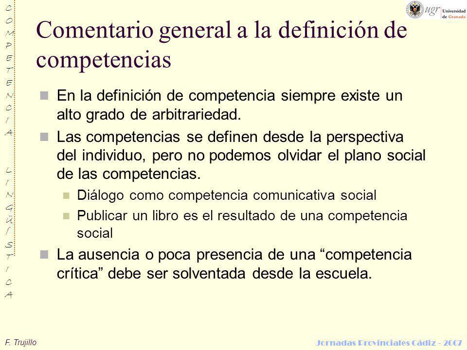 Comentario general a la definición de competencias