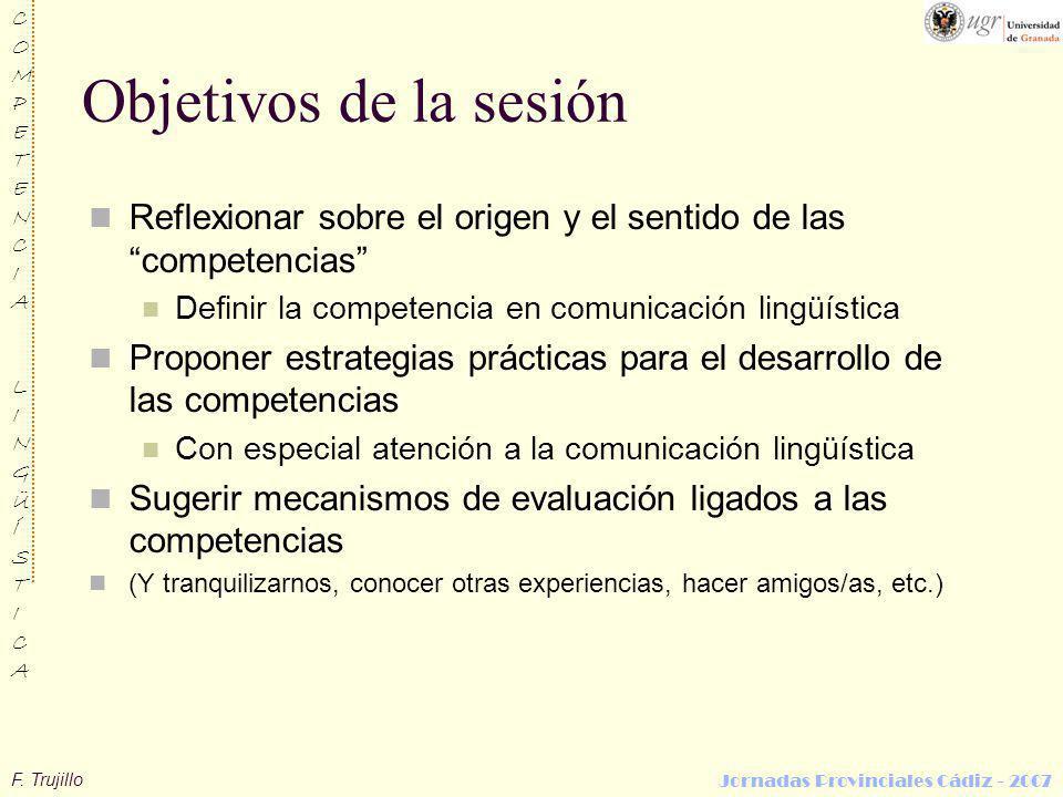 Objetivos de la sesión Reflexionar sobre el origen y el sentido de las competencias Definir la competencia en comunicación lingüística.