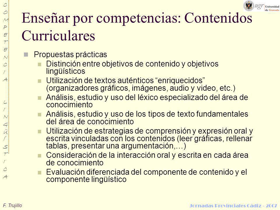 Enseñar por competencias: Contenidos Curriculares