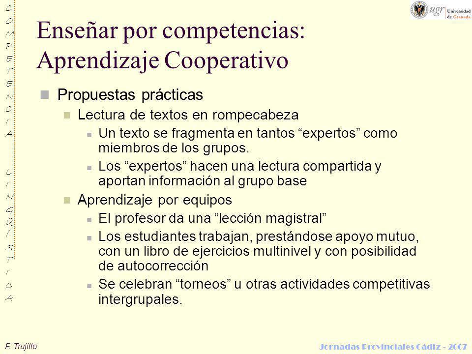 Enseñar por competencias: Aprendizaje Cooperativo